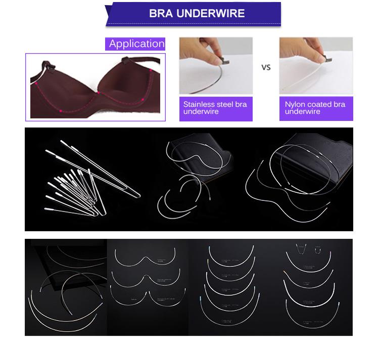 Metal swimwear accessories nylon coated wire bra frame