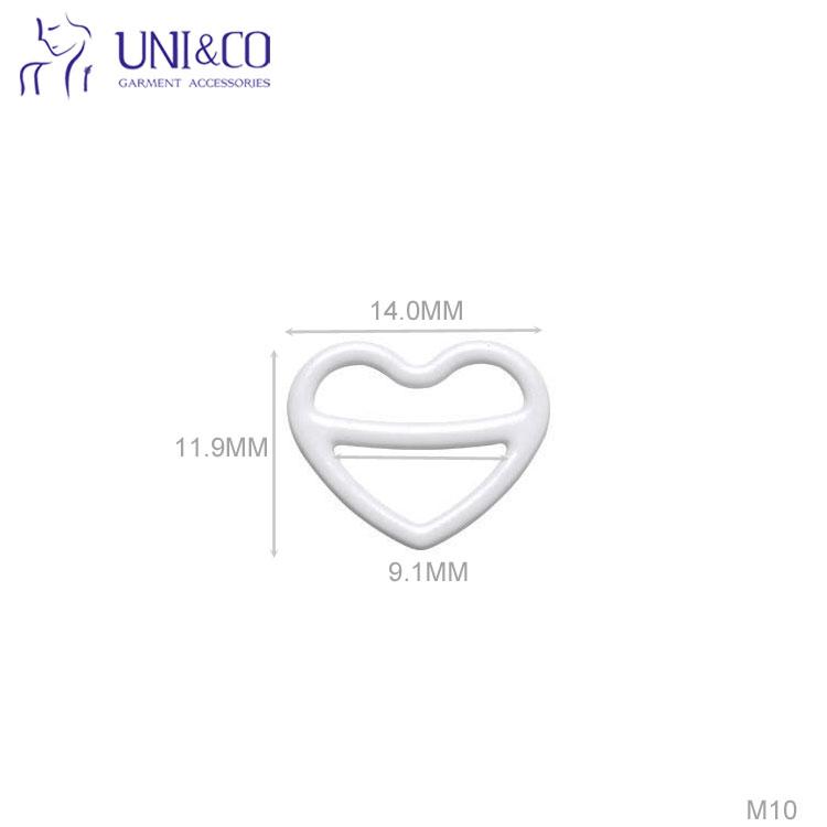 Heart Shape Swimwear Strap Accessories10mm Metal Bra Slider
